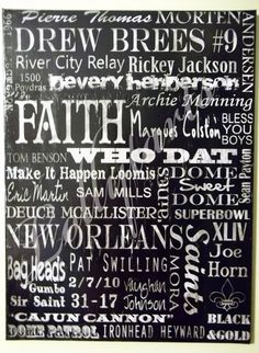 Items similar to Original Saints Typography Collage on Canvas 18x24 on Etsy ^