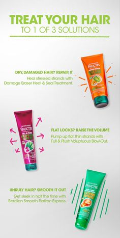 For healthy-looking locks, treat hair to one of these Garnier Fructis Treatments. – Damage got you down? Apply Damage Eraser Heal & Seal Treatment to clean hair and smooth from root to tip. Leave for 60 seconds then rinse out. – Want a fuller, thicker look? Add a dollop of Full & Plush Voluptuous Blow-Out to damp strands then blow-dry using a round brush. – Fighting with your flatiron? Put a little Brazilian Smooth Flatiron Express in towel-dried hair then blow-dry and straighten.