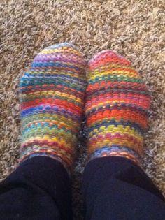 My first loom knitting socks