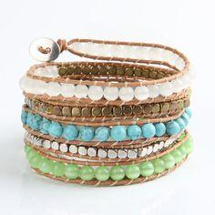 New antique Charming Bracelet white and green Opal bead leather einding bracelet turquoise metallic bead CCB unisex bangle Bracelets Wrap En Cuir, Bracelet Wrap, Cheap Bracelets, Strand Bracelet, Bracelets For Men, Bangle Bracelets, Bracelet Men, Bangles, Aquamarine Bracelet