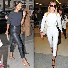 Zoe Saldana Wearing Leather Pants
