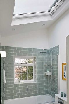 Bathroom with roof window. This is a great idea for a home extention. Great way… - Bathroom with roof window. This is a great idea for a home extention. Great way… Bathroom with roof window. This is a great idea for a home extention. Cheap Bathroom Remodel, Cheap Bathrooms, Ensuite Bathrooms, Bathroom Windows, Amazing Bathrooms, Bathroom Interior, Master Bathroom, Bathroom Remodeling, Small Bathroom With Window