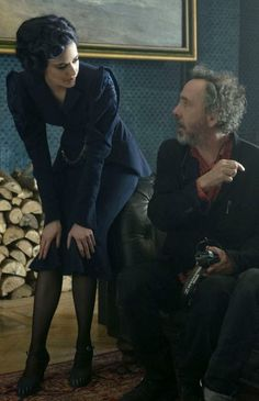 Eva Green with Tim Burton | the set of 'Miss Peregrine's Home for Peculiar Children'