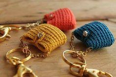 Purse Key holder Crochet purse keychain Blue Ocean by LiveFashion Bead Crochet, Cute Crochet, Crochet Baby, Crochet Gifts, Crochet Toys, Crochet Stitches, Crochet Patterns, Purse Patterns, Sewing Patterns