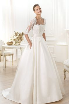 Square Neckline Half Shoulder A Line Wedding Dress Satin Ivory Online Sale