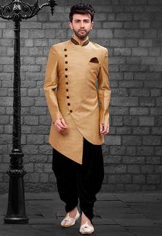 Shop beige indo-western mens short sherwani , freeshipping all over the world , Item code Kurta Pajama Men, Kurta Men, Mens Sherwani, Sherwani Groom, Wedding Kurta For Men, Wedding Dresses Men Indian, Wedding Outfits, Wedding Men, Pakistani Dresses