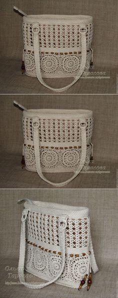 """Купить Сумка вязаная """"Белый шоколад"""" - женская сумка, летняя сумка, осень, вязаная сумка"""