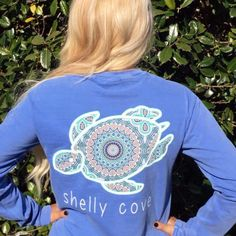 size small BoHo Shelly™ Mandala Long Sleeve Pocket Tee in Flo Blue - Shelly Cove - 1 Shelly Cove, Comfort Colors, Cute Shirts, Long Sleeve Shirts, Cute Outfits, Winter Outfits, Summer Outfits, Graphic Sweatshirt, Tee Shirt