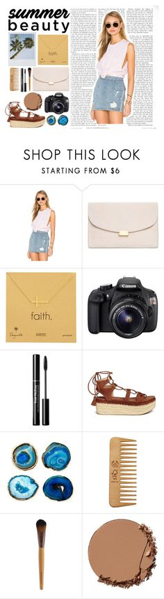 """Summer beuty"" by yenifermelend ❤ liked on Polyvore featuring Stateside, Mansur Gavriel, Dogeared, Eos, Trish McEvoy, Stuart Weitzman, Mapleton Drive, The Body Shop and Urban Decay"