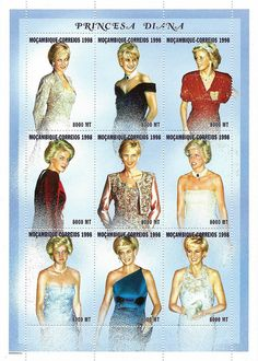 Mozambique Stamps - Princess Diana Commemorative Sheet , Diana - Princess Of Wales 1961 - 1997.