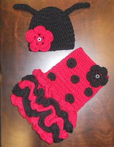 Crochet Ladybug Tutu Dress & Matching Beanie Hat Baby Costume Handmade Photo Prop. $55.00, via Etsy.