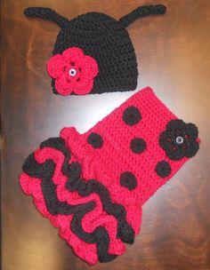 Crochet Ladybug Tutu Dress & Matching Beanie Hat Baby Costume Handmade Photo Prop. $55.00, via Etsy.