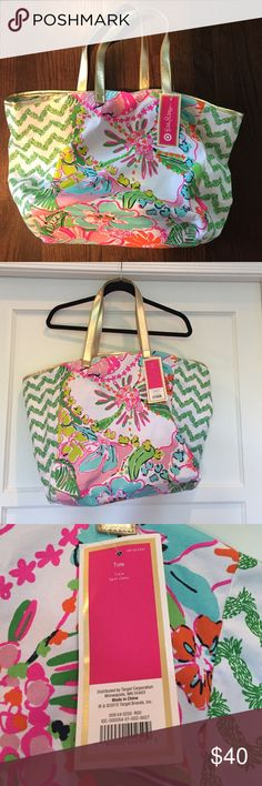 NWT Lilly Pulitzer for Target beach tote. New with tags Lilly for target beach bag. Hard to find! Beautiful pattern. Lilly Pulitzer for Target Bags Totes