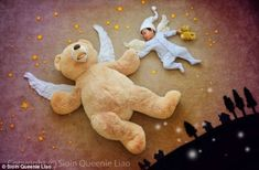 Baby Wengenn sleeps soundly and while he does his mother Queenie Liao creates fairy tale scenes around him to take adorable photographs