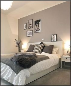 The best thing on Monday is when everything is done and you finally go to bed f - Einrichten und Wohnen - Schlafzimmer Room Ideas Bedroom, Bedroom Colors, Home Decor Bedroom, White Bedroom Decor, Grey Wall Bedroom, Charcoal Bedroom, Light Gray Bedroom, Grey Bedroom Design, Grey Room
