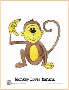 "Monkey Loves Banana | ""Learn to Watercolor"" Project - http://makingartfun.com/htm/f-maf-printit/watercolor-monkey-loves-banana.htm"