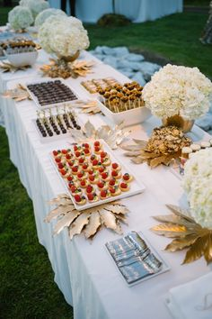 Spray paint leaves and flowers gold to decorate the buffet. Love this look from Dessert Bar Wedding, Wedding Party Favors, Dessert Bars, Diy Wedding, Wedding Reception, Wedding Decorations, Wedding Ideas, Dessert Tables, Wedding Stuff