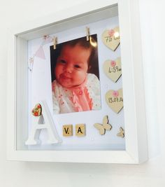 Your place to buy and sell all things handmade - Excited to share the latest addition to my shop: New Baby Gift Frame - Idee Baby Shower, Baby Shower Registry, Baby Boy Shower, Baby Shower Gifts, Baby Box Frame Ideas, Baby Frame, Classic Baby Books, Baby Photo Frames, Foto Baby