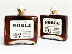 Noble Bourbon Maple Syrup - Up the man-factor during breakfast with this featured Noble Bourbon Maple Syrup. This Noble Bourbon Maple Syrup is for those who secretly like to . Bourbon Maple Syrup, Design Package, Label Design, Graphic Design, Pots, Sustainable Gifts, Branding, Pretty Packaging, Brand Packaging