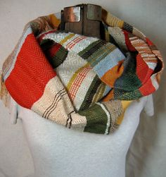 handwoven scarf. love the mishmash of colors and textures.