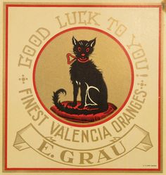 Vintage Valencia, Spain Good Luck To You Black Cat Halloween (via Spain Black Cat Orange Citrus Crate Label Art Print - Cat Crate Label Prints - The Cat Collection - Special Collections) Groucho Marx, Vintage Cat, Vintage Labels, Black Cat Good Luck, Black Cat Art, Black Cats, Black Kitty, Orange Crate Labels, Vegetable Crates