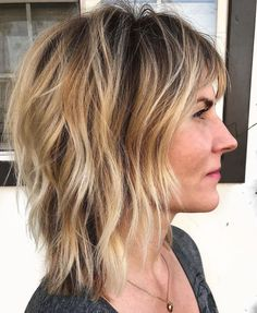 60 Best Variations of a Medium Shag Haircut for Your Distinctive Style Sharp Shag with Razored Layers Balayage Hair Blonde, Blonde Highlights, Bang Highlights, Chunky Highlights, Caramel Highlights, Trending Hairstyles, Bob Hairstyles, Fancy Hairstyles, Latest Hairstyles