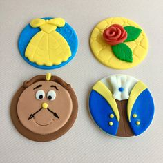 12 Beauty and the Beast fondant cupcake toppers