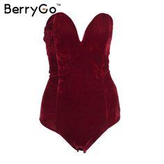 BerryGo Lace up de terciopelo fiesta Noche de las mujeres sexy body mono mameluco 2016 V sin mangas de cuello de bodycon monos