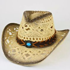 Western Womens w/Concho Black Rimmed Cowgirl Hat - Cowgirl Bling Ranch, LLC