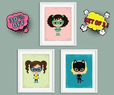 Nursery Wall Art, Superhero Girl, Superhero Nursery, Superhero Wall Art, Girl Superhero, Superhero Prints, Kids Room Prints, Nursery Prints
