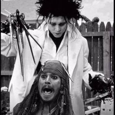 "Here's Johnny! #JohnnyDepp as Edward Scissor Hands, and Captain Jack Sparrow probably yelling, ""Not the Dreads!"""