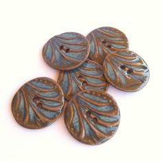 Aqua Fan Stoneware Buttons by carolmilich on Etsy, $12.00