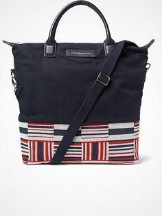 want les essentiels de la vie o'hare leather-trimmed canvas tote bag