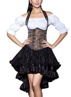 Corsgenkleid kurz Unterbrust Corsage + Rock mini Abendkleid Cocktailkleid Dirndl Party Kleid Top: Amazon.de: Bekleidung
