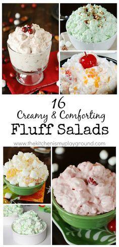 16 Creamy & Comforting Fluff Salads ~ 16 variations of everyone's favorite creamy comfort food!   #fluff #fluffsalad www.thekitchenismyplayground.com