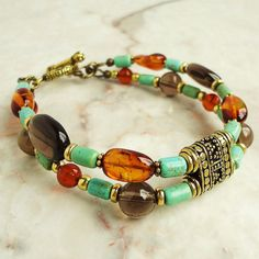 Baltic Amber Tibetan Turquoise Smoky Quartz  by mamisgemstudio, $49.95