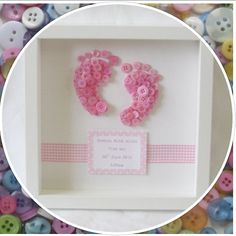 A beautiful, unique frame, perfect as a gift for new babies. The baby footprints are created using layers of buttons in pink, blue, yellow, green or lilac buttons. The frame is finished with a matching gingham ribbon and can be personalised with names, birth weight, birth date and time of birth. The white frame measures 25cm x 25cm and is ready to be hung on the wall. Please send me a message to discuss colours and personalisation. I aim to process orders within a week. Orders will be…