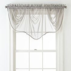 Home Expressions Lisette Sheer Macramé Tuck Valance - JCPenney Sheer Valances, Sheer Curtains, Valance Curtains, Bedroom Windows, Living Room Windows, Waterfall Valance, Scarf Valance, Curtain Length