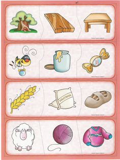 ★..Dulces Momentos..★: Material Didactico II Speech Therapy Activities, Teaching Activities, Kindergarten Worksheets, Educational Activities For Kids, Craft Activities For Kids, Preschool Crafts, Things That Go Together, Islam For Kids, Coding For Kids