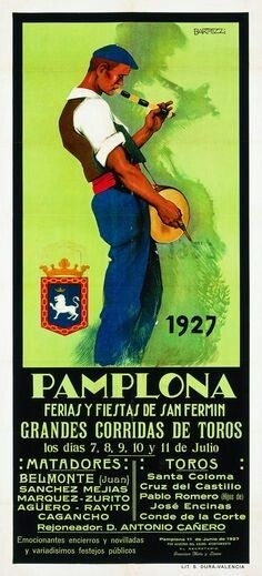 18 x 24 The famous running of the bulls in Pamplona Spain is announce on this 1954 festival poster showing the bulls and the runners in their traditional dress Poster Print by Lides Sotes