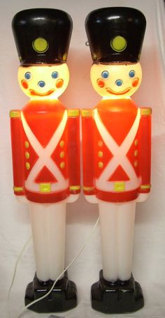 vintage christmas decorations blow mold soldier lights 31 inch