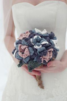 crochet bridal bouquet -  Carmyn Joy Photography