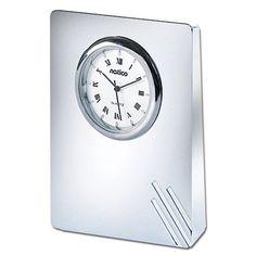 #@ Lowest Price Natico Silver Contempo II Clock with line pattern (10-908L)a