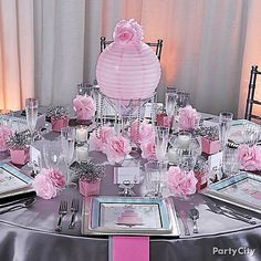 I know this is bridal shower decor but I really like the silver and pink decor together!!  | followpics.co