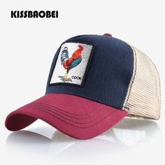 a78d52b52cd Cock Embroidery Baseball Cap Men Women Snapback Caps Breathable Mesh Hip  Hop Hats Unisex Casual Eat Chicken Bone Casquette