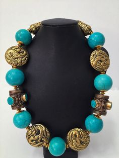 Large Ethnic Tibetan Turquoise Statement Necklace, Repousse Beads, Nepal, Classy, Nepalese, Magnesite Beads, Yoga, Brass, Spiritual by DivineEminence on Etsy https://www.etsy.com/listing/465558718/large-ethnic-tibetan-turquoise-statement