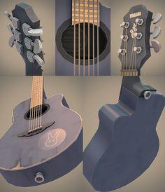 Illustrative Rendering - Lowpoly 3D guitar by Harry Nesbitt, via Behance