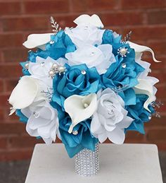Bling-silver Turquoise / Malibu and White Roses with Calla Lily Bridal Wedding Bouquet with White Stain Ribbon Bling Handle Angel Isabella http://www.amazon.com/dp/B00KCD3P02/ref=cm_sw_r_pi_dp_gYt3ub0N112KV