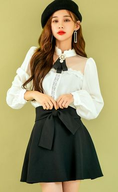 Korean Fashion Dress, Ulzzang Fashion, Korea Fashion, Asian Fashion, Fashion Dresses, Modern Outfits, Classy Outfits, Cute Outfits, Fashion Model Poses