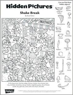 Hidden Object Puzzles, Hidden Picture Puzzles, Hidden Objects, Puzzles For Kids, Worksheets For Kids, Games For Kids, Abc Games, Learning Games, Highlights Hidden Pictures